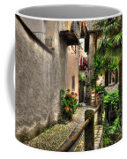 Tight Alley With Palm Trees Coffee Mug