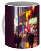 Times Square - Man Walking With Yellow Bag Coffee Mug