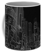 Times Square Nyc White On Black Coffee Mug