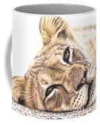 Tired Young Lion Coffee Mug
