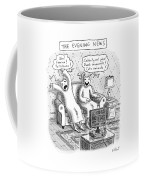 Title: The Evening News. A Person Wearing Coffee Mug