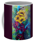 Too Delicate For Words - Yellow Flowers And Red Grapes Coffee Mug