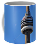 Toronto Cn Tower Moon And Jet Trail Coffee Mug