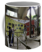 Tourists In A Queue At One Of The Exhibits Inside The Jurong Bird Park Coffee Mug