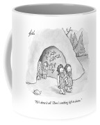 Tow Cavemen Walk Out Of A Cave With Drawings Coffee Mug