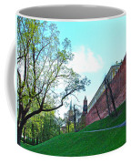 Tower And Wall From Park Outside Kremlin In Moscow-russia Coffee Mug