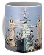 Tower Bridge And Battleship 5863 Coffee Mug