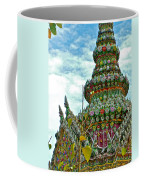 Tower Closeup Of Buddhist Temple At Grand Palace Of Thailand  Coffee Mug