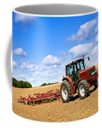 Tractor In Plowed Farm Field Coffee Mug by Elena Elisseeva