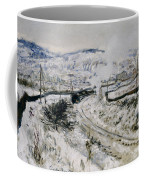 Train In The Snow At Argenteuil Coffee Mug