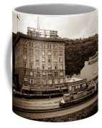 Train Passes Station Square Pittsburgh Antique Look Coffee Mug