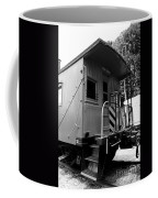 Train - The Caboose - Black And White Coffee Mug by Paul Ward