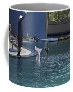 Trainer And The Tails Of A Duo Of Dolphins At The Underwater World Coffee Mug