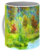 Trees In Spring On A Lake Coffee Mug