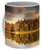 Trees Lining The Waters Edge Reflected Coffee Mug