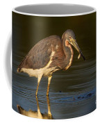 Tricolored Heron With Fish Coffee Mug