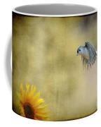 Tufted Titmouse Flying Over Flower Coffee Mug