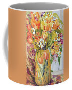 Tulips And Narcissi In An Art Nouveau Vase Coffee Mug by Joan Thewsey