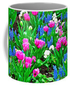 Tulips And Pansies And Grape Hyacinth By Lutheran Cathedral Of Helsinki-finland Coffee Mug