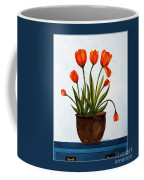 Tulips On A Blue Buffet With Borders Coffee Mug by Barbara Griffin