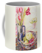Tulips With Fruit In A Glass Bowl  Coffee Mug by Joan Thewsey