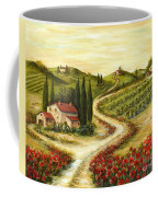 Tuscan Road With Poppies Coffee Mug by Marilyn Dunlap