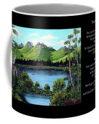 Twin Ponds And 23 Psalm On Black Horizontal Coffee Mug