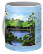Twin Ponds And 23 Psalm On Blue Horizontal Coffee Mug