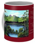Twin Ponds And 23 Psalm On Red Horizontal  Coffee Mug