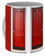 Twin Red Doors Coffee Mug by Olivier Le Queinec