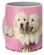 Twin White Labs In Pink Basket Coffee Mug by Greg Cuddiford