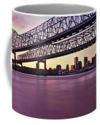 Twins Bridge Over A River, Crescent Coffee Mug