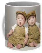 Two Babies In Matching Hat And Overalls Coffee Mug