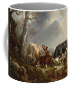 Two Bulls Defend Against A Cow Attacked By Wolves Coffee Mug by Jacques Raymond Brascassat