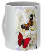 Two Butterflies On White Roses Coffee Mug