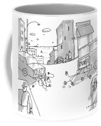 Two Cars Pull Away From Each Other With Cans Tied Coffee Mug