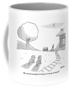 Two Cats Sit On The Front Yard Remarking At A Dog Coffee Mug