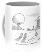 Two Cats Sit On The Front Yard Remarking At A Dog Coffee Mug by Jack Ziegler
