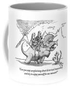 Two Cave People Ride A Dinosaur Like A Horse Coffee Mug