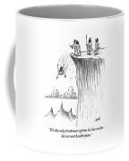 Two Cavemen Push A Caveman Off A Cliff Coffee Mug