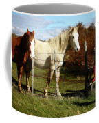 Two Children Admire Horses Coffee Mug