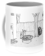 Two Children Excitedly Look At A Web Disguised Coffee Mug by Zachary Kanin