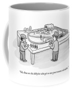 Two Children Play With A Toy Train Set Coffee Mug by Paul Noth
