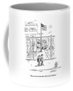 Two Children Walk Along The Sidewalk Discussing Coffee Mug
