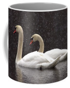 Two Christmas Swans A Swimming Coffee Mug