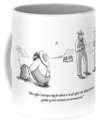 Two Cowboys Look Into Their Coffee Coffee Mug by Julia Suits