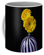 Two Daises In Striped Vase Coffee Mug