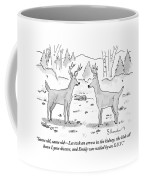 Two Deer In A Forest Are Seen In Conversation Coffee Mug