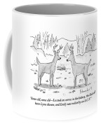 Two Deer In A Forest Are Seen In Conversation Coffee Mug by Danny Shanahan