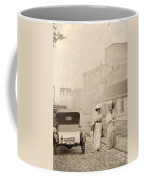 Two Edwardian Ladies Crossing A Cobbled Street Coffee Mug